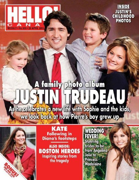 Kate Middleton, Angelina Jolie, Justin Trudeau - Hello! Magazine Cover [Canada] (29 April 2013)