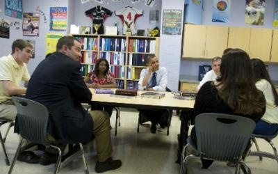 President Obama speaks with graduating seniors and their parents on May 4 at Washington-Lee High School in Arlington, Va., during a roundtable discussion on the interest rates of federally subsidized student loans. Without congressional intervention, student-loan interest rates are set to double on July 1.