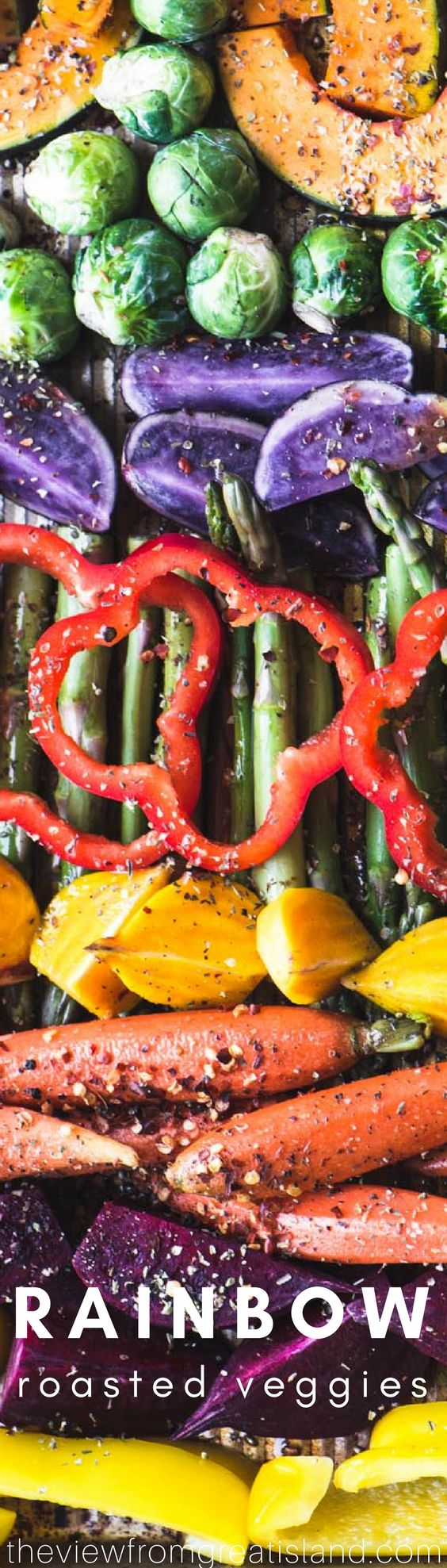 Easy Roasted Rainbow Vegetables ~ this super easy sheet pan side dish wakes up your dinner table with a pop of healthy delicious color ~ let's banish those boring beige meals once and for all! #rainbowrecipe #vegetables #vegan #glutenfree @whole30 #paleo #weightwatchers #sidedish #holidaysidedish #sheetpan #healthy #cleaneating #colorfulrecipe
