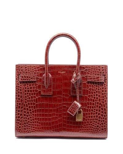 Saint Laurent Sac de Jour Small Crocodile-Embossed Satchel Bag - Bronze  Hardware 19e4d3e5cac