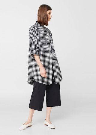 Camisa oversize quadrados  - Camisas de Mulher | MANGO Portugal