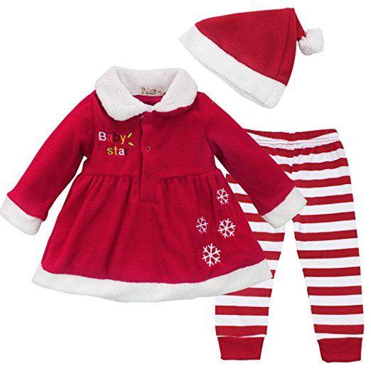 iEFiEL Baby Weihnachten Kleid Hose Mädchen Bekleidung Set - 3tlg. Baby Weihnachtskostüm Outfits mit weihnachtsmütze (86-92 (Herstellergröße: 100), Rot)