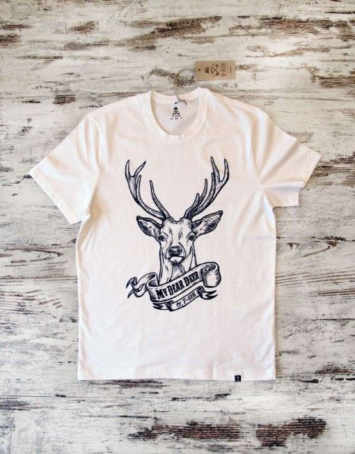 T-SIR My Dear Deer white T-Shirt. #mydeardeer #deer  100% cotton, super-soft feel. Tag with brand logo at the bottom left. #tshirt #tshirtdesign #whitetshirt #hipstertshirts #mens #camisetahipster