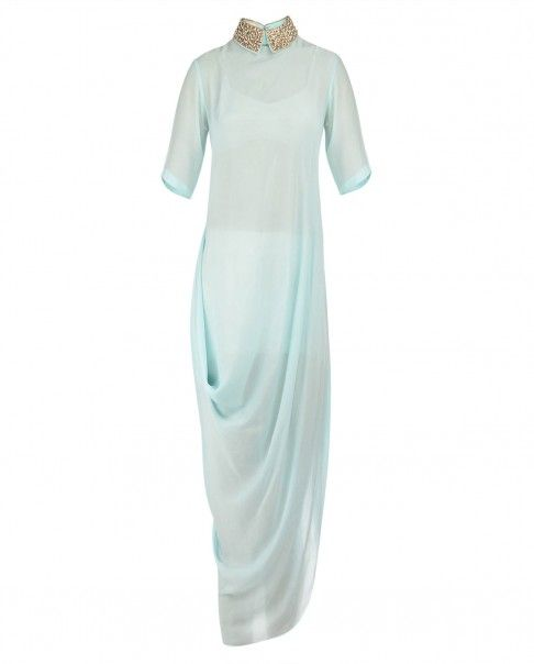Aqua Blue Drape Dress