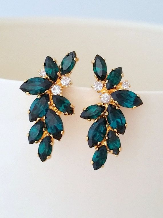 Emerald earrings,Emerald bridal earrings,Statement stud earrings,Large earring,Cluster earring,Swarovski earring,crystal earring,Bridesmaids by EldorTinaJewelry on Etsy | http://etsy.me/2k4holX