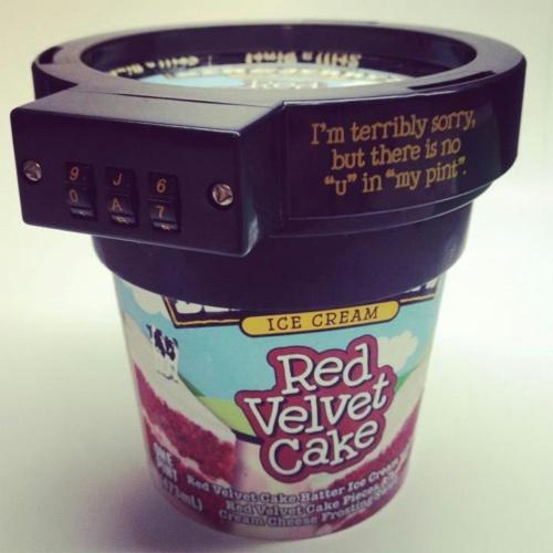 Ice cream lock down: Ben And Jerry, Stuff, Funny, Red Velvet, Ice Cream, Things, Pints, Cream Locks, Icecream