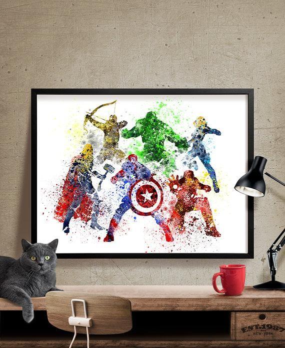 Avengers age of ultron superhero poster watercolor art print watercolor superhero avengers wall art movie poster