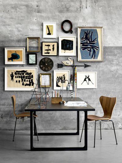 love the art wall: Wall Art, Wallart, Fritz Hansen, Frames, Grey Wall, Galleries Wall, Fritzhansen, Art Wall, Wall Galleries
