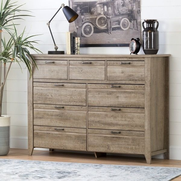 South Shore Lionel Weathered Oak 9-drawer Double Dresser