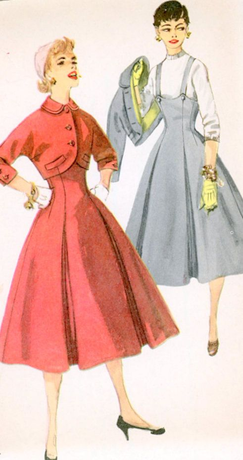 1950s Misses Jumper and Jacket Vintage Sewing Pattern, Rockabilly, Full Skirt, Simplicity 1675