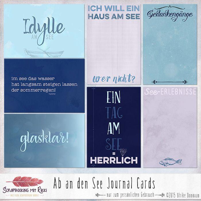 Ein Set mit deutschsprachigen Journaling Karten zum Thema Seenliebe.