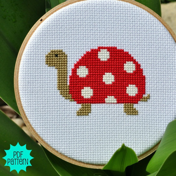 Cross Stitch Cute Turtle Pattern by Sewingseed on Etsy, $4.00