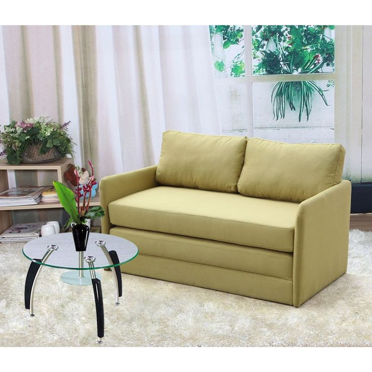 US Pride Furniture Kathy Reversible 5.1 Inches Foam Fabric Loveseat And  Sofa Bed (Yellow Reversible
