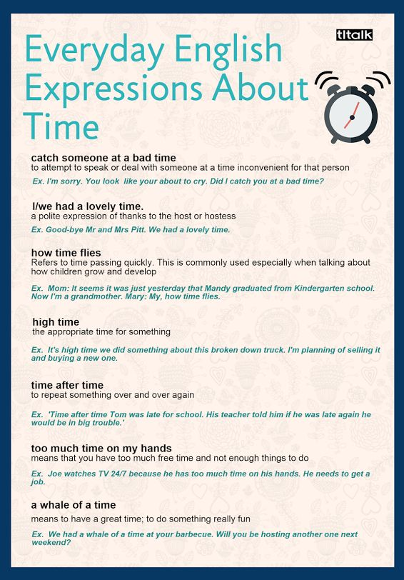 Time Expressions | Idioms and stuff | Everyday english ...