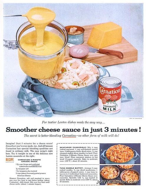 Carnation Evaporated Milk (1957)-If mom didn't finish a can she always stuck it in the fridge; I would sneak in and drink it right out of the can! - CG