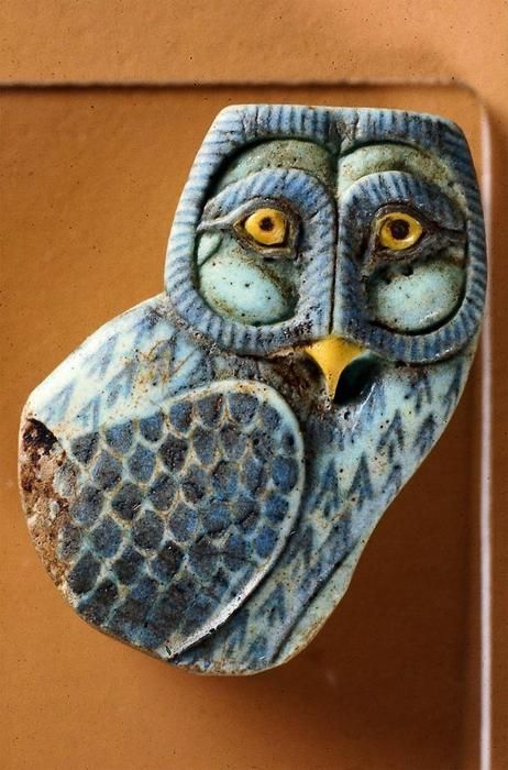 Faience inlay in the form of an owl, from Egypt, 525-305 BC (via).:
