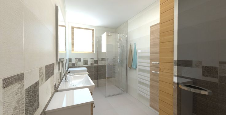 Vizualizácia kúpeľne s obkladmi RAKO - NEXT a dlažbou TREND