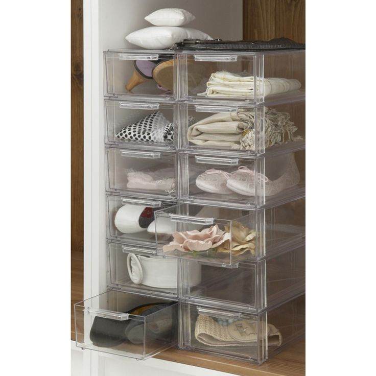 Elegant Acrylic Stackable Shoe Storage Drawers Small Clear