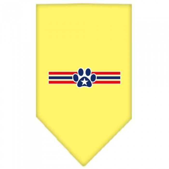 Patriotic Star Paw Screen Print Bandana Yellow Small  Our #bandanas are 100% cotton with overlock stitching on the hems to ensure rugged durability, free from fraying and raveling.