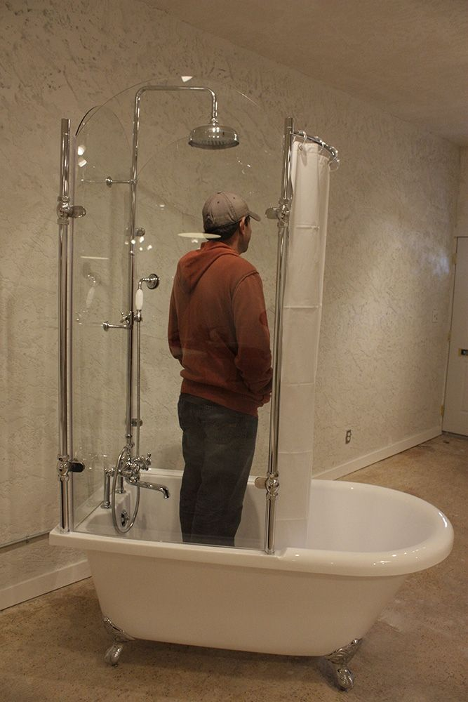 Vintage Clawfoot Tub With Tempered Glass Shower Enclosure Google Search New Bathroom