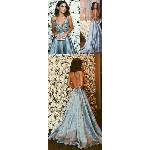 Silver ball dresses via Polyvore featuring dresses, ball dresses, silver dresses, silver blue dress, navy blue dress and navy ball dresses