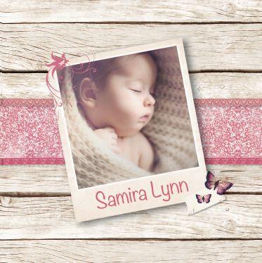 Geboortekaartje Samira Lynn: www.hetuilennestje.nl Geboortekaartje, Roze, Lief, Steigerhout, foto baby, kant, lint, vlinders, bloemetjes, beige, soft, note briefje, tape, meisje.