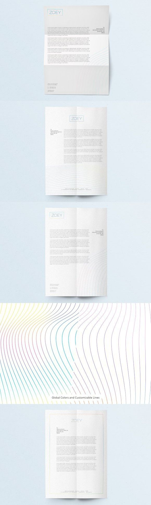 ZOEY Letterhead Template | Word + AI. Stationery Templates