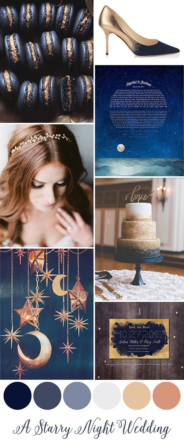 A Starry Night Wedding. Can't get enough of these deep moody blues with the gold sparkle!
