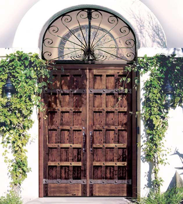 15 Panel Rustic Wood Door For Clavos Location And Size Iron Accents Door Handle Front Door