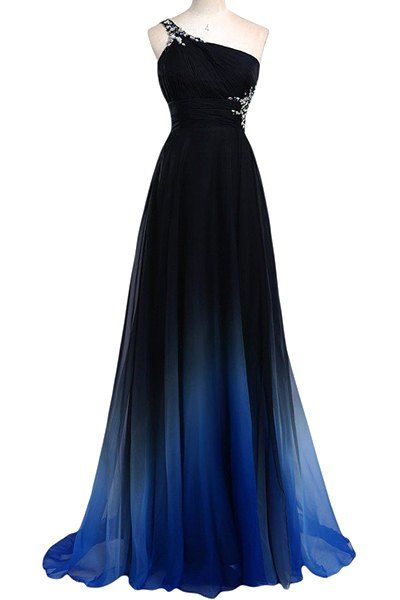 Noble Rhinestone Design One-Shoulder Sleeveless Ombre Color Pleated Prom Dress For Women