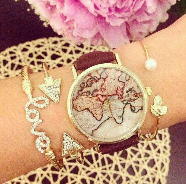 Uhrenarmbänder - Weltkarte Leder Uhren,Damen Armbanduhr - ein Designerstück von SexySugar bei DaWanda