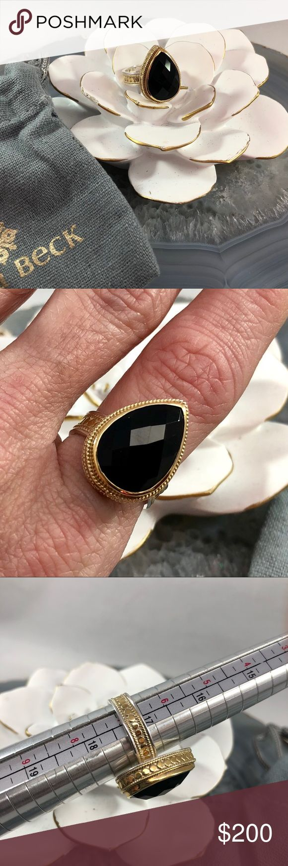 ❤️ Anna Beck black onyx teardrop cocktail ring sz7 Beautiful black Onyx Ring in signature Anna Beck style. All of her pieces are handmade in Bali. 18k gold plated. My favorite designer. Unfortunately my knuckles won't let me wear rings that aren't adjustable so I will have to let go of some cherished pieces. This has only been worn twice and is in perfect condition. Like new! I will be posting a few other pieces from my collection in the next few days if you are a fan of her beautiful…