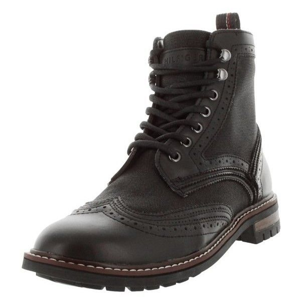 Tommy Hilfiger Men's Hartman Boot ($181) ❤ liked on Polyvore featuring men's fashion, men's shoes, men's boots, black multi, shoes, mens steampunk boots, mens wingtip shoes, mens round toe cowboy boots, mens brogue boots and mens leather boots