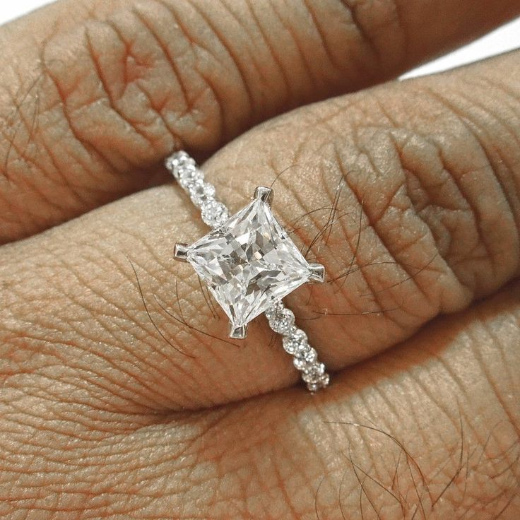 2.9 ct solitaire princess cut engagement ring 14k solid white gold anniversary