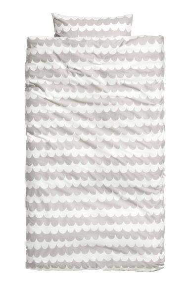 Vzorovaná sada povlečení - Světle šedá - HOME   H&M CZ