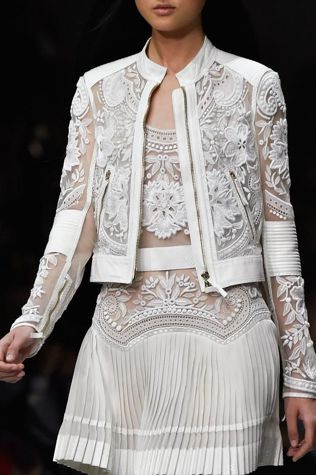 Sheer panels, pleats & ornate embroidery; white fashion details // Roberto Cavalli S/S 2015