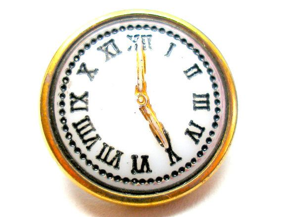 Vintage Czech Glass Button With A Clock Design White Black