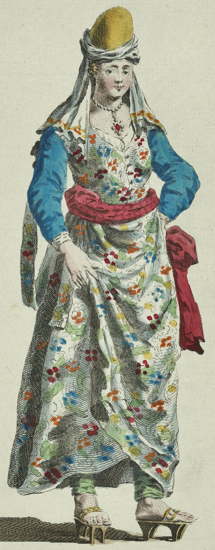 Habit of an Ottoman lady of the grand seigniors seraglio, in the mid-16th century. Originally published in 1568 in Voyages and travels of N. de Nicholay Dauphinoys, seigneur D'Arfeville, valet de chambre and geographer to the king of France. (Photo credit: NYPL Digital Gallery)