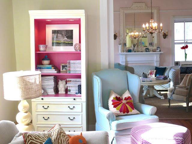 MY Old Country House: love the pillow and pink painted cabinet