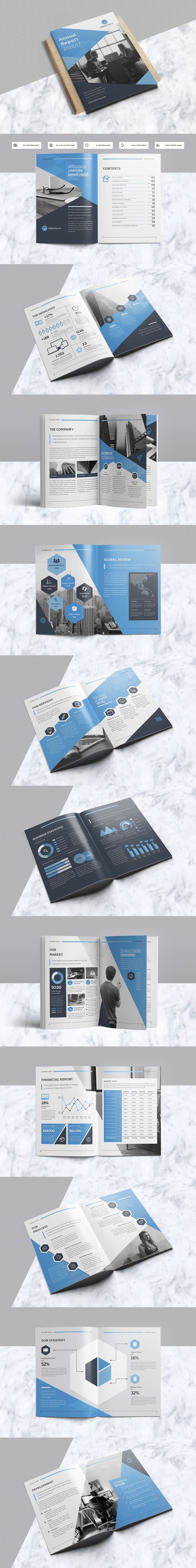 Creative & Professional Annual Report Template INDD With Include A4 & US Letter Size