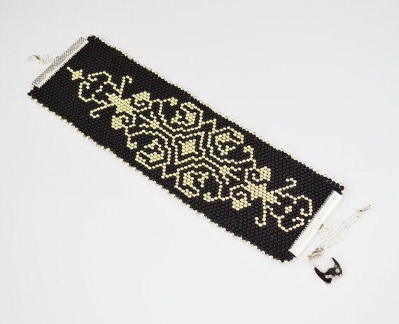 Ornament Bracelets, seed beads bracelets, pattern lace bracelets, cuff bracelet, black silver bracelet, cuff jewelry, christmas gift her
