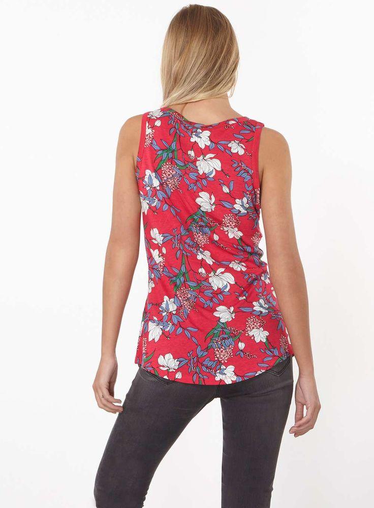 Womens Pink Floral Vest- Pink