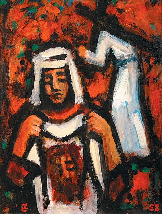 Hľadáte podobné dielo?  Skúste vyhľadávanie podľa nasledovných kľúčových slov: maľba, náboženský motív, sakrálny, Ježiš Kristus, Veronika, kríž