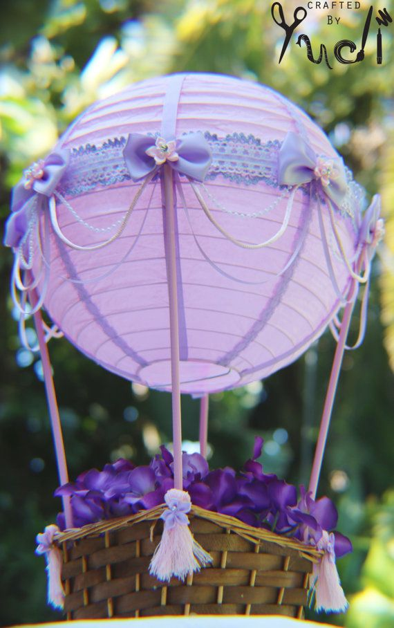 Hot Air Balloon Party Decoration floral base // Hot Air Balloon Centerpiece in Pink and purple // party supplies