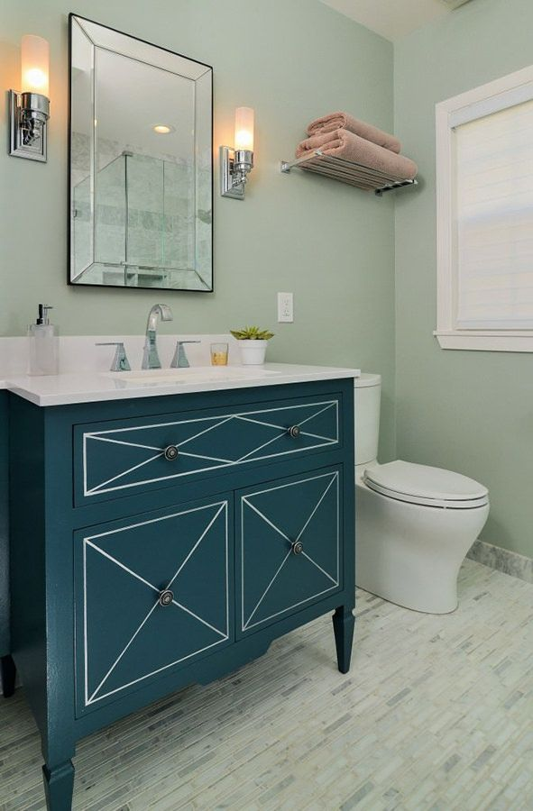 Green Bathroom with Dark Green Vanity Unit