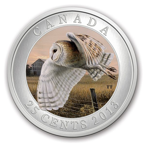 2013 25-Cent Coloured Coin - Birds of Canada: Barn Owl