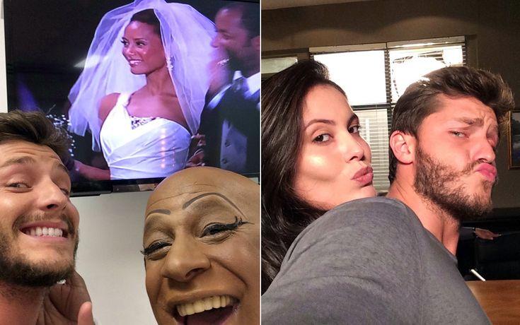 Ailton Graça e Ana Carolina Dias mostram que o bom humor reina nos bastidores