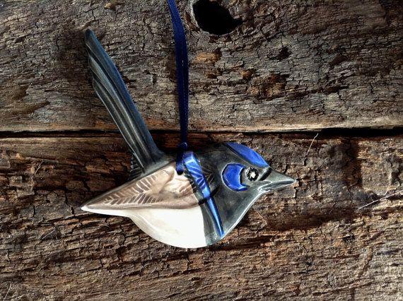 Handmade Ceramic Bird - Australian Superb Fairy Wren, Wall Hanging, Garden Decor.