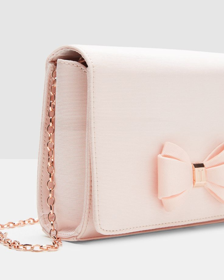 Bow Detail Clutch – Baby Pink