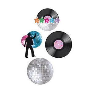 Een set met vier wanddecoraties in disco stijl! Voor alle disco-thema avonden. Op www.shopwiki.nl #verkleden #thema-feest